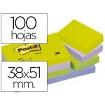 Bloc de notas adhesivas quita y pon Post-it 38x51 mm ultra intenso color SURTIDO pack de 12 blocs