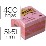 Bloc de notas adhesivas quita y pon Post-it 51x51 mm minicubo color rosa 400 hojas