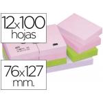 Bloc de notas adhesivas quita y pon Post-it 76x127 mm colores suaves pack de 12 blocs