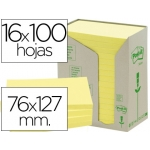 Bloc de notas adhesivas quita y pon Post-it 76x127 mm en torre recicladas pack de 16 blocs 655