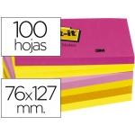 Bloc de notas adhesivas quita y pon Post-it 76x127 mm neon pack de 6 blocs color SURTIDO