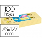 Bloc de notas adhesivas quita y pon Post-it 76x127 mm pack promocional 24+12