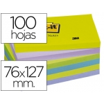 Bloc de notas adhesivas quita y pon Post-it 76x127 mm ultra intenso pack de 6 blocs color SURTIDO