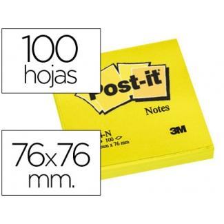 Bloc de notas adhesivas quita y pon Post-it 76x76 mm color amarillo neon con 100 hojas