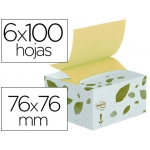 Bloc de notas adhesivas quita y pon Post-it 76x76 mm color amarillo reciclado b330-1r con dispensador