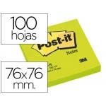 Bloc de notas adhesivas quita y pon Post-it 76x76 mm color verde neon con 100 hojas
