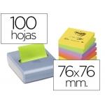 Bloc de notas adhesivas quita y pon Post-it 76x76 mm colores neon pack de 8 bloc con dispensador curve gratis