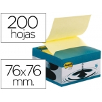 Bloc de notas adhesivas quita y pon Post-it 76x76 mm con dispensador efecto ventosa color azul y amarillo