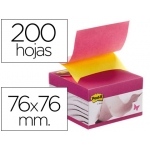 Bloc de notas adhesivas quita y pon Post-it 76x76 mm con dispensador efecto ventosa color rosa y amarillo