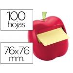 Bloc de notas adhesivas quita y pon Post-it 76x76 mm forma de manzana con dispensador