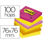 Bloc de notas adhesivas quita y pon Post-it 76x76 mm neon pack de 6 blocs color SURTIDO