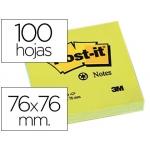 Bloc de notas adhesivas quita y pon Post-it 76x76 mm papel reciclado color amarillo