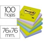 Bloc de notas adhesivas quita y pon Post-it 76x76 mm ultra intenso color SURTIDO pack de 6 blocs
