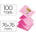 Bloc de notas adhesivas quita y pon Post-it 76x76 mm z-notes rosa pastel y neon colores alternos pack12