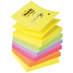 Bloc de notas adhesivas quita y pon Post-it 76x76 mm z-notes ultra intenso pack de 6 blocs colores surtidos