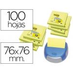 Bloc de notas adhesivas quita y pon Post-it 76x76 mm z-notesamarillo neon 8 blocs r330n dispensador gratis