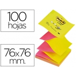 Bloc de notas adhesivas quita y pon Post-it 76x76 mm z-notesfucsia amarillo colores alternos
