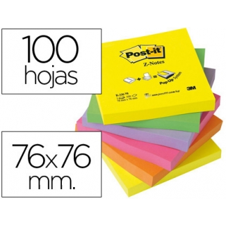 Bloc de notas adhesivas quita y pon Post-it 76x76 mm z-notesultra intenso pack de 6 blocs color SURTIDO