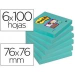 Bloc de notas adhesivas quita y pon Post-it super stick 76x76 mm pack de 6 bloc color agua marina