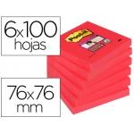 Bloc de notas adhesivas quita y pon Post-it super stick 76x76 mm pack de 6 bloc color rojo amapola