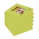 Bloc de notas adhesivas quita y pon Post-it super stick 76x76 mm pack de 6 bloc color verde espárrago