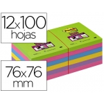 Bloc de notas adhesivas quita y pon Post-it super stick ultra 76x76 mm pack de 12 bloc color verde rosa amarilla