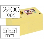 Bloc de notas adhesivas quita y pon Post-it super sticky 51x51 mm pack de 12 bloc color amarillo canario