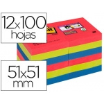 Bloc de notas adhesivas quita y pon Post-it super sticky 51x51 mm pack de 12 bloc colores joya pop surtidos