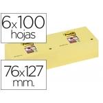 Bloc de notas adhesivas quita y pon Post-it super sticky 76x127 mm con 12 bloc color amarillo canario