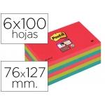 Bloc de notas adhesivas quita y pon Post-it super sticky 76x127 mm con 6 bloc 2 color rojo verde neon azul