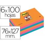 Bloc de notas adhesivas quita y pon Post-it super sticky 76x127 mm con 6 bloc 2 color rosa naranja neon azul