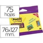 Bloc de notas adhesivas quita y pon Post-it super sticky 76x127 mm con 75 hojas