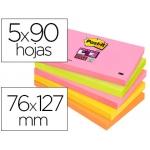 Bloc de notas adhesivas quita y pon Post-it super sticky 76x127 mm con 90 hojas pack de 5 bloc colores surtidos