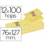 Bloc de notas adhesivas quita y pon Post-it super sticky 76x127 mm zigzag con 12 bloc color amarillo canario