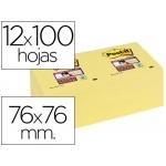 Bloc de notas adhesivas quita y pon Post-it super sticky 76x76 mm con 12 bloc color amarillo canario