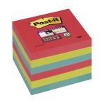 Bloc de notas adhesivas quita y pon Post-it super sticky 76x76 mm con 6 bloc 2 rojos color verde neon azul