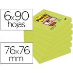 Bloc de notas adhesivas quita y pon Post-it super sticky 76x76 mm con 90 hojas 654 color verde espárrago