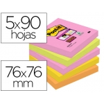 Bloc de notas adhesivas quita y pon Post-it super sticky 76x76 mm con 90 hojas pack de 5 bloc colores surtidos