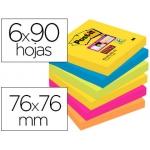 Bloc de notas adhesivas quita y pon Post-it super sticky 76x76 mm con 90 hojas pack de 6 bloc colores surtidos