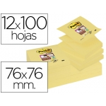 Bloc de notas adhesivas quita y pon Post-it super sticky 76x76 mm zigzag con 12 bloc color amarillo canario
