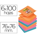 Bloc de notas adhesivas quita y pon Post-it super sticky 76x76 mm zigzag con 6 bloc 2 color rosa naranja neon azul