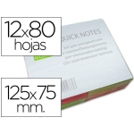 Bloc de notas adhesivas quita y pon Q-connect 125x75 mm con 80 hojas fluorescentes pack de 12 surtidas en 4 colores