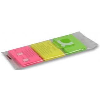 Bloc de notas adhesivas quita y pon Q-connect 40x50 mm fluorescentes pack de 3 con 50 hojas