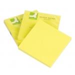 Bloc de 80 notas adhesivas quita y pon Q-Connect 75x75 mm color amarillo neón