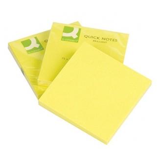 Bloc de notas adhesivas quita y pon Q-connect 75x75 mm color amarillo neon 80 hojas