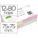 Bloc de notas adhesivas quita y pon Q-connect 75x75 mm con 80 hojas fluorescentes pack de 12 surtidas en 4 colores