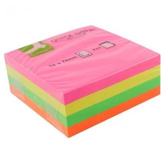 Bloc de notas adhesivas quita y pon Q-connect 75x75 mm fluorescente con 320 hojas