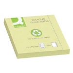 Bloc de notas adhesivas quita y pon Q-Connect 75x75 mm papel reciclado color amarillo
