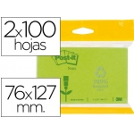 Bloc de notas adhesivas quita y pon recicladas Post-it 76x127 mm color verde claro y oscuro