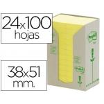 Bloc de notas adhesivas quita y pon recicladas en torre Post-it 38 x 51 mm 24 blocs 653 reciclado